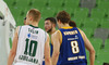 Sasu Salin (no.10) of Union Olimpija (L) and Petteri Koponen (no.8) of Khimki Moscow (R) during match of FIBA basketball Euro Cup match between KK Union Olimpija, Ljubljana, Slovenia, and Khimki Moscow, Russia. Match between Union Olimpija and Khimki Moscow was closed for public as result of incident last season, and was played in Stozice Arena in Ljubljana, Slovenia, on Wednesday, 22nd of October 2014.