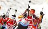 Luise Kummer of Germany skiing during Women relay race of IBU Biathlon World Cup in Hochfilzen, Austria. Women relay race of IBU Biathlon World cup was held on Saturday, 13th of December 2014 in Hochfilzen, Austria.