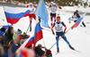 Timofey Lapshin of Russia skiing during Men relay race of IBU Biathlon World Cup in Hochfilzen, Austria. Men relay race of IBU Biathlon World cup was held on Saturday, 13th of December 2014 in Hochfilzen, Austria.