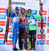 Anton Shipulin of Russia, Martin Fourcade of France , Simon Schempp of Germany celebrate their medals won in men sprint race of IBU Biathlon World Cup in Canmore, Alberta, Canada. Men sprint race of IBU Biathlon World cup was held in Canmore, Alberta, Canada, on Thursday, 4th of February 2016.