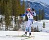 Mari Laukkanen of  Finland during women sprint race of IBU Biathlon World Cup in Canmore, Alberta, Canada. Men sprint race of IBU Biathlon World cup was held in Canmore, Alberta, Canada, on Friday, 5th of February 2016.