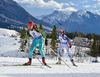 Natalya Burdyga of Ukraine, Mari Laukkanen of  Finland during women sprint race of IBU Biathlon World Cup in Canmore, Alberta, Canada. Men sprint race of IBU Biathlon World cup was held in Canmore, Alberta, Canada, on Friday, 5th of February 2016.