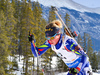 Marie Dorin-Habert of France during women sprint race of IBU Biathlon World Cup in Canmore, Alberta, Canada. Men sprint race of IBU Biathlon World cup was held in Canmore, Alberta, Canada, on Friday, 5th of February 2016.