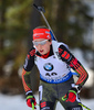 Franziska Preuss of Germany during women sprint race of IBU Biathlon World Cup in Canmore, Alberta, Canada. Men sprint race of IBU Biathlon World cup was held in Canmore, Alberta, Canada, on Friday, 5th of February 2016.