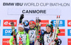 Krystyna Guzik of Poland, Olena Pidhrushna of Ukraine, Dorothea Wierer of Italy during women sprint race of IBU Biathlon World Cup in Canmore, Alberta, Canada. Men sprint race of IBU Biathlon World cup was held in Canmore, Alberta, Canada, on Friday, 5th of February 2016.