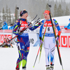 Kaisa Makarainen of Finland (R) and Anais Bescond of France (L) during women mass start race of IBU Biathlon World Cup in Canmore, Alberta, Canada. Men sprint race of IBU Biathlon World cup was held in Canmore, Alberta, Canada, on Friday, 5th of February 2016.