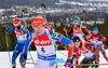 Veronika Vitkova of the Czech Republic, Kaisa Makarainen of Finland, Miriam Goessner of Germany during women mass start race of IBU Biathlon World Cup in Canmore, Alberta, Canada. Men sprint race of IBU Biathlon World cup was held in Canmore, Alberta, Canada, on Friday, 5th of February 2016.