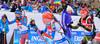 Ekaterina Yurlova of Russia, Kaisa Makarainen of Finland, Luisa Kummer, Germany,Gabriela Soukalova of the Czech Republic during women mass start race of IBU Biathlon World Cup in Canmore, Alberta, Canada. Men sprint race of IBU Biathlon World cup was held in Canmore, Alberta, Canada, on Friday, 5th of February 2016.