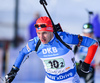 Matti Hakala of Finland during mixed relay race of IBU Biathlon World Cup in Canmore, Alberta, Canada. Mixed relay race of IBU Biathlon World cup was held in Canmore, Alberta, Canada, on Sunday, 7th of February 2016.