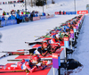 Hilde Fenne of Norway and Luise Kummer of Germany shooting during mixed relay race of IBU Biathlon World Cup in Canmore, Alberta, Canada. Mixed relay race of IBU Biathlon World cup was held in Canmore, Alberta, Canada, on Sunday, 7th of February 2016.