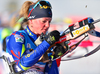 Marie Dorin Haber of France during mixed relay race of IBU Biathlon World Cup in Canmore, Alberta, Canada. Mixed relay race of IBU Biathlon World cup was held in Canmore, Alberta, Canada, on Sunday, 7th of February 2016.