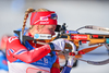Hilde Fenne of Norway during mixed relay race of IBU Biathlon World Cup in Canmore, Alberta, Canada. Mixed relay race of IBU Biathlon World cup was held in Canmore, Alberta, Canada, on Sunday, 7th of February 2016.