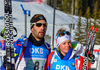 Martin Fourcade and Marie Dorin Habert of France during mixed relay race of IBU Biathlon World Cup in Canmore, Alberta, Canada. Mixed relay race of IBU Biathlon World cup was held in Canmore, Alberta, Canada, on Sunday, 7th of February 2016.