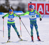 Ingela, Andersson and Torstein Stenersen of Sweden during mixed relay race of IBU Biathlon World Cup in Canmore, Alberta, Canada. Mixed relay race of IBU Biathlon World cup was held in Canmore, Alberta, Canada, on Sunday, 7th of February 2016.