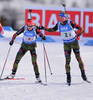 Luise Kummer and Erik Lesser of Germany during mixed relay race of IBU Biathlon World Cup in Canmore, Alberta, Canada. Mixed relay race of IBU Biathlon World cup was held in Canmore, Alberta, Canada, on Sunday, 7th of February 2016.