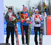 Fourth placed Marie Dorin-Habert of France (L), fifth placed Kaisa Makarainen of Finland (M) and sixth placed Selina Gasparin of Switzerland (R) celebrate their success in the women sprint race of IBU Biathlon World Cup in Presque Isle, Maine, USA. Women sprint race of IBU Biathlon World cup was held in Presque Isle, Maine, USA, on Thursday, 11th of February 2016.