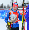 Kaisa Makarainen of Finland during medal ceremony after women sprint race of IBU Biathlon World Cup in Presque Isle, Maine, USA. Women sprint race of IBU Biathlon World cup was held in Presque Isle, Maine, USA, on Thursday, 11th of February 2016.
