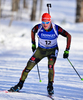 Benedikt Doll of Germany during men sprint race of IBU Biathlon World Cup in Presque Isle, Maine, USA. Men sprint race of IBU Biathlon World cup was held in Presque Isle, Maine, USA, on Thursday, 11th of February 2016.