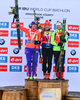 Second placed, Susan Dunklee of USA (L), winner Gabriela Soulklaova of Czech (M) and third placed Krystyna Guzik of Poland (R) celebrate their medals won in the women sprint race of IBU Biathlon World Cup in Presque Isle, Maine, USA. Women sprint race of IBU Biathlon World cup was held in Presque Isle, Maine, USA, on Thursday, 11th of February 2016.