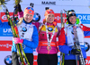 Winner Gabriela Soukalova of Czech (M), second placed Kaisa Makarainen of Finland (L) and third placed Marie Dorin-Habert of France (R), celebrate their medals won in the women pursuit race of IBU Biathlon World Cup in Presque Isle, Maine, USA. Women pursuit race of IBU Biathlon World cup was held in Presque Isle, Maine, USA, on Friday, 12th of February 2016.