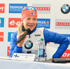 Kaisa Makarainen of Finland during press conference after women pursuit race of IBU Biathlon World Cup in Presque Isle, Maine, USA. Women pursuit race of IBU Biathlon World cup was held in Presque Isle, Maine, USA, on Friday, 12th of February 2016.