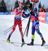Winner Martin Fourcade of France (R) and second placed Johannes Thingnes Boe of Norway (L) during men pursuit race of IBU Biathlon World Cup in Presque Isle, Maine, USA. Men pursuit race of IBU Biathlon World cup was held in Presque Isle, Maine, USA, on Friday, 12th of February 2016.