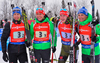 BIRNBACHER Andreas, BOEHM Daniel, DOLL Benedikt and LESSER Erik of Germany during men relay race of IBU Biathlon World Cup in Presque Isle, Maine, USA. Men relay race of IBU Biathlon World cup was held in Presque Isle, Maine, USA, on Saturday, 13th of February 2016.