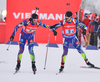 DESTHIEUX Simon and BEATRIX Jean Guillaume of France during men relay race of IBU Biathlon World Cup in Presque Isle, Maine, USA. Men relay race of IBU Biathlon World cup was held in Presque Isle, Maine, USA, on Saturday, 13th of February 2016.