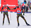 BOEHM Daniel and DOLL Benedikt of Germany during men relay race of IBU Biathlon World Cup in Presque Isle, Maine, USA. Men relay race of IBU Biathlon World cup was held in Presque Isle, Maine, USA, on Saturday, 13th of February 2016.