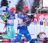 Yuliya Dzhma of Ukraine and SOUKALOVA Gabriela of Czech during women relay race of IBU Biathlon World Cup in Presque Isle, Maine, USA. Women relay race of IBU Biathlon World cup was held in Presque Isle, Maine, USA, on Saturday, 13th of February 2016.
