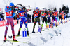 VOLKOV Alexey of Russia, FOURCADE Simon of France and LESSER Erik of Germany during men relay race of IBU Biathlon World Cup in Presque Isle, Maine, USA. Men relay race of IBU Biathlon World cup was held in Presque Isle, Maine, USA, on Saturday, 13th of February 2016.