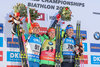 Gabriela Koukalova of Czech Republic Laura Dahlmeier of Germany Alexia Runggaldier of Italy during Flower Ceremony of the individual women of the IBU Biathlon World Championships at the Biathlonarena in Hochfilzen, Austria on 2017/02/15.