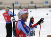 Kaisa Makarainen of Finland and Mari Laukkanen of Finland during the zeroing before the women 7.5km sprint race of IBU Biathlon World Cup in Hochfilzen, Austria.  Women 7.5km sprint race of IBU Biathlon World cup was held in Hochfilzen, Austria, on Friday, 8th of December 2017.