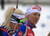 Mari Laukkanen (L) and Kaisa Makarainen of Finland during the zeroing before the women 7.5km sprint race of IBU Biathlon World Cup in Hochfilzen, Austria.  Women 7.5km sprint race of IBU Biathlon World cup was held in Hochfilzen, Austria, on Friday, 8th of December 2017.