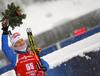 Sixth placed Kaisa Makarainen of Finland during medal ceremony after the women 7.5km sprint race of IBU Biathlon World Cup in Hochfilzen, Austria.  Women 7.5km sprint race of IBU Biathlon World cup was held in Hochfilzen, Austria, on Friday, 8th of December 2017.