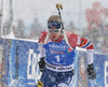 Johannes Thignes Boe of Norway during the men 12.5km pursuit race of IBU Biathlon World Cup in Hochfilzen, Austria.  Men 12.5km pursuit race of IBU Biathlon World cup was held in Hochfilzen, Austria, on Saturday, 9th of December 2017.