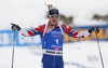 Winner Johannes Thignes Boe of Norway during the men 12.5km pursuit race of IBU Biathlon World Cup in Hochfilzen, Austria.  Men 12.5km pursuit race of IBU Biathlon World cup was held in Hochfilzen, Austria, on Saturday, 9th of December 2017.