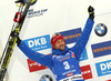 Second placed Fakov Fak of Slovenia celebrates his medal won in the men 12.5km pursuit race of IBU Biathlon World Cup in Hochfilzen, Austria.  Men 12.5km pursuit race of IBU Biathlon World cup was held in Hochfilzen, Austria, on Saturday, 9th of December 2017.