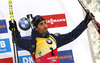 Third placed Martin Fourcade of France celebrates his medal won in the men 12.5km pursuit race of IBU Biathlon World Cup in Hochfilzen, Austria.  Men 12.5km pursuit race of IBU Biathlon World cup was held in Hochfilzen, Austria, on Saturday, 9th of December 2017