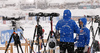 Finnish coaches during zeroing before start of the women 10km pursuit race of IBU Biathlon World Cup in Hochfilzen, Austria.  Women 10km pursuit race of IBU Biathlon World cup was held in Hochfilzen, Austria, on Saturday, 9th of December 2017.