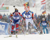 Ingrid Landmark Tandrevold of Norway (L) and Kaisa Makarainen of Finland (R) during the women 10km pursuit race of IBU Biathlon World Cup in Hochfilzen, Austria.  Women 10km pursuit race of IBU Biathlon World cup was held in Hochfilzen, Austria, on Saturday, 9th of December 2017.