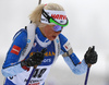 Mari Laukkanen of Finland during the women 10km pursuit race of IBU Biathlon World Cup in Hochfilzen, Austria.  Women 10km pursuit race of IBU Biathlon World cup was held in Hochfilzen, Austria, on Saturday, 9th of December 2017.