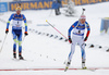 Darya Domracheva of Belarus (L) and Kaisa Makarainen of Finland (R)  during the women 10km pursuit race of IBU Biathlon World Cup in Hochfilzen, Austria.  Women 10km pursuit race of IBU Biathlon World cup was held in Hochfilzen, Austria, on Saturday, 9th of December 2017.
