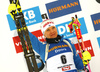 Kaisa Makarainen of Finland celebrates his medal won in women 10km pursuit race of IBU Biathlon World Cup in Hochfilzen, Austria.  Women 10km pursuit race of IBU Biathlon World cup was held in Hochfilzen, Austria, on Saturday, 9th of December 2017.