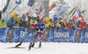 Martin Fourcade of France (front) and Johannes Thingnes Boe of Norway (back) during the men 12.5km pursuit race of IBU Biathlon World Cup in Hochfilzen, Austria.  Men 12.5km pursuit race of IBU Biathlon World cup was held in Hochfilzen, Austria, on Saturday, 9th of December 2017.