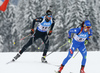 Serafin Wiestner of Switzerland (L) and Thomas Bormolini of Italy (R) during the men relay race of IBU Biathlon World Cup in Hochfilzen, Austria.  Men relay race of IBU Biathlon World cup was held in Hochfilzen, Austria, on Sunday, 10th of December 2017.