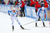 Olli Hiidensalo of Finland (L) and Mikko Loukkaanhuhta of Finland (R) during the men relay race of IBU Biathlon World Cup in Hochfilzen, Austria.  Men relay race of IBU Biathlon World cup was held in Hochfilzen, Austria, on Sunday, 10th of December 2017.