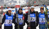 Third placed team of France with Jean Guillaume Beatrix (L), Simon Desthieux, Emilien Jacquelin andQuentin Fillon Maillet celebrating in finish of  the men relay race of IBU Biathlon World Cup in Hochfilzen, Austria.  Men relay race of IBU Biathlon World cup was held in Hochfilzen, Austria, on Sunday, 10th of December 2017.