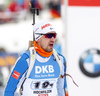 Olli Hiidensalo of Finland in finish of the men relay race of IBU Biathlon World Cup in Hochfilzen, Austria.  Men relay race of IBU Biathlon World cup was held in Hochfilzen, Austria, on Sunday, 10th of December 2017.