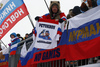 Russian fans during the men relay race of IBU Biathlon World Cup in Hochfilzen, Austria.  Men relay race of IBU Biathlon World cup was held in Hochfilzen, Austria, on Sunday, 10th of December 2017.